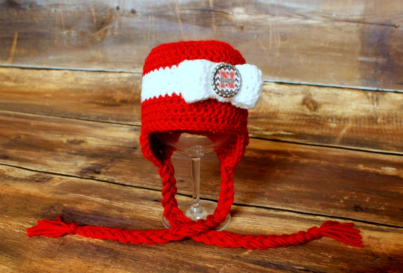 e070676dd Nebraska Huskers Stocking Hat with bow -- Sizes Newborn to Child baby  infant toddler Cornhusker hat stocking cap red white