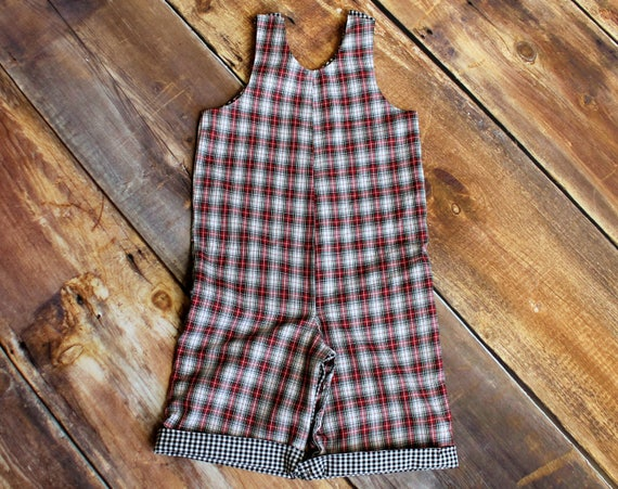 2ab2b45bb Plaid Overalls Reversible Jon Jon boys infant toddler