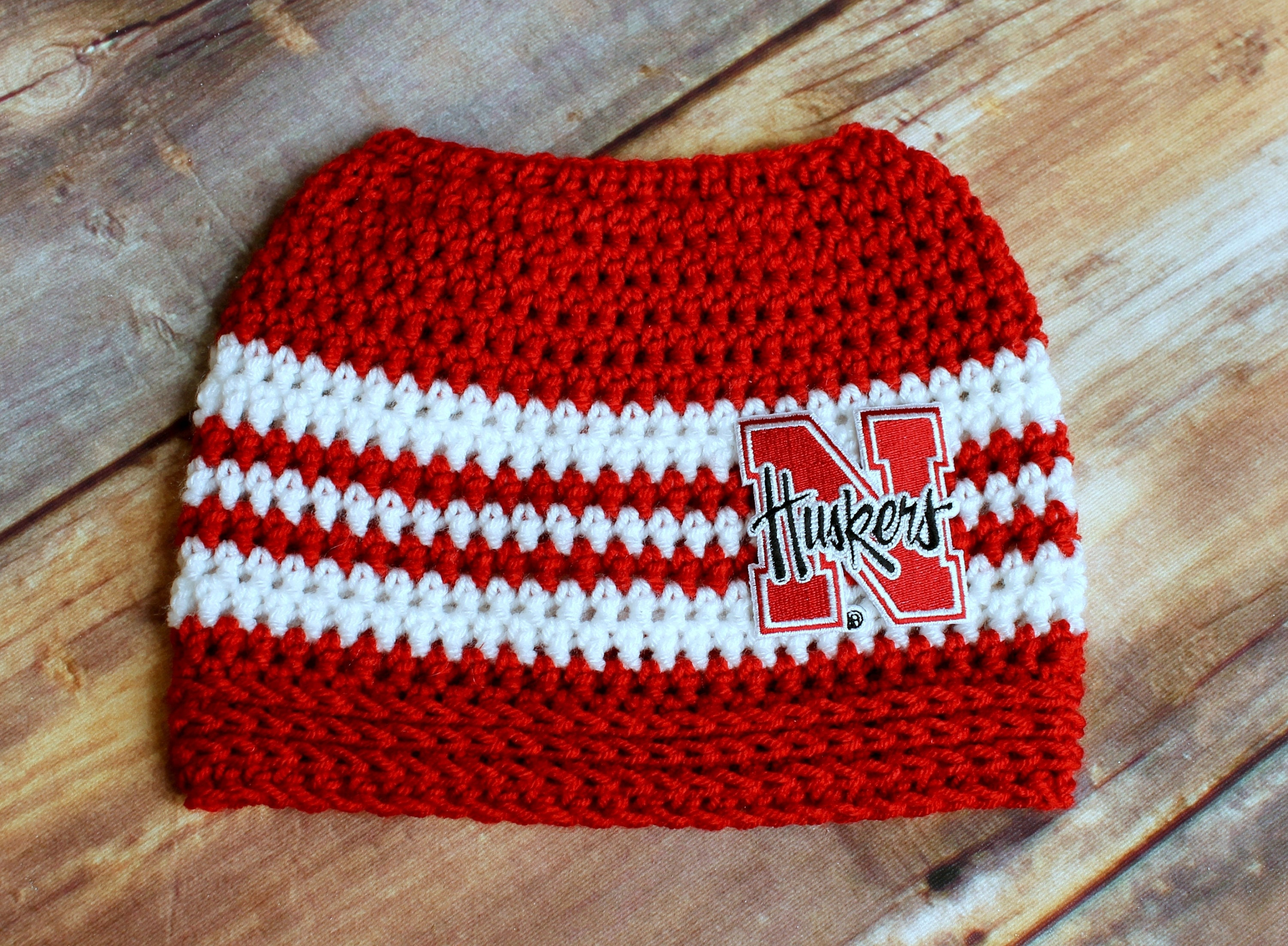 d27c14aa2 Nebraska Huskers Hat with hole - Messy Bun hat Child or Adult Husker hat  Ponytail Hat Running Cap Runners beanie mom grad gift Cornhuskers