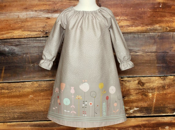 Gray Floral baby infant toddler child girls A-line dress Ready to Ship spring summer outfit pictures gray 4T5T Fall Peasant Dress