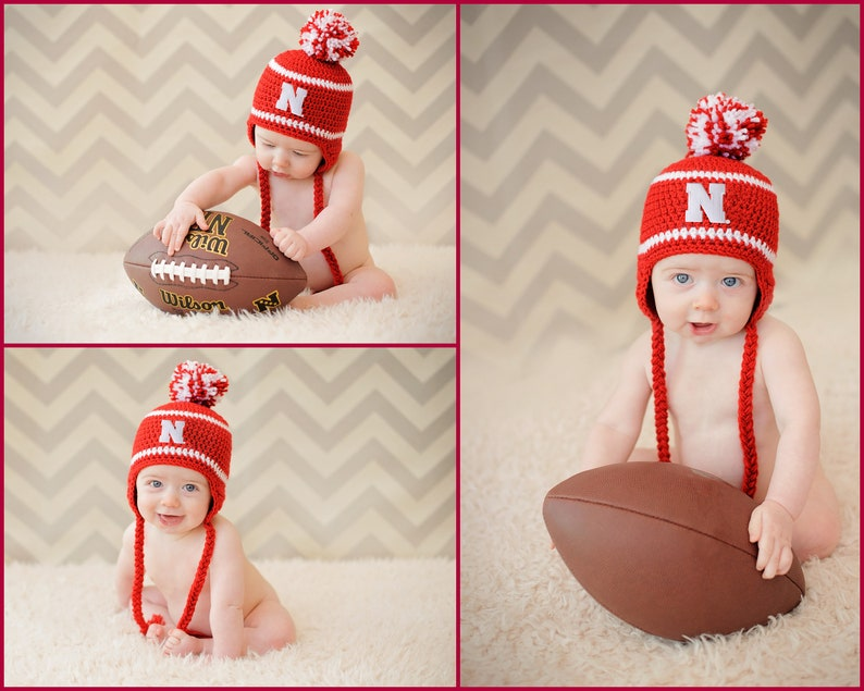 f09d27736 Nebraska Huskers Hat - newborn baby infant toddler child kids Cornhuskers  stocking cap knit hat photo prop baby shower gift