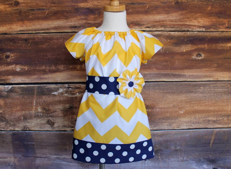 Michigan Wolverines Inspired Yellow Chevron Peasant Dress  Navy Polka Dot Newborn to Child Size 1112 baby infant toddler girls tween
