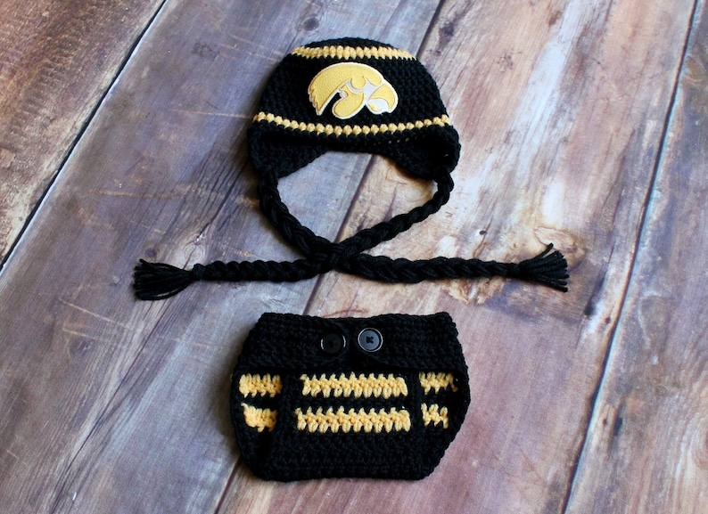 0c586920975 Iowa Hawkeyes Outfit Hat   Diaper Cover Newborn Baby to 12