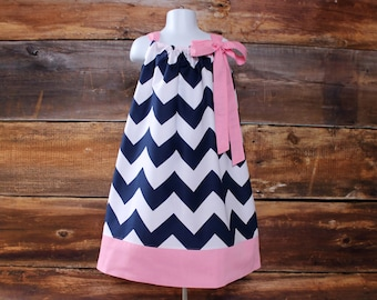 Easter Dress - Newborn baby toddler girls pillowcase dress navy pink infant child light baby pink navy blue spring summer fall dress