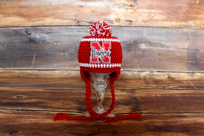 2712309cc Nebraska Huskers Stocking Hat with Pom-Pom - Size Newborn to Child infant  baby toddler Huskers hat Cornhuskers earflap hat knit cap