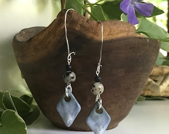 Sterling Silver Porcelain Earrings with Speckled Jasper Beads