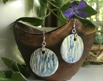 Carved Porcelain Earrings with Sterling Silver