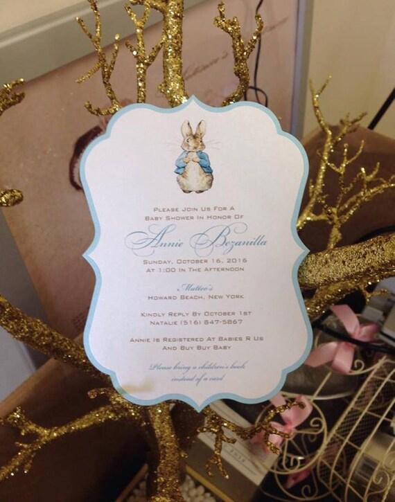 Peter Rabbit Invitation Baby Shower Invitation Peter Rabbit Etsy