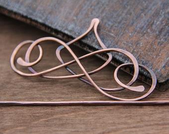 """Hair slide, hair barrette, hair clip, hair fork, hair stick """"Calligraphy"""" Collection, antique copper or german silver hair slide"""