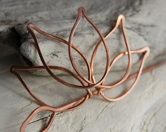 """Hair slide, hair barrette, hair fork, hair pin, hair stick copper """"Lotus"""""""