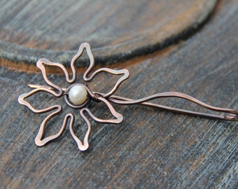 """Shawl pin, scarf pin, brooch, cardigan clasp, copper shawl pin """"Sunflower"""", floral, woodland shawl pin, pearl and copper,"""