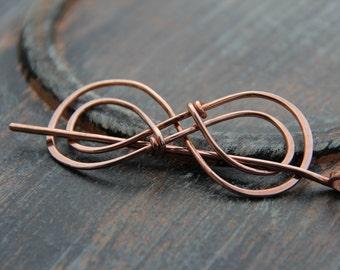 """Hair slide, hair barrette, copper """"Double Infinity"""" hair slide, shawl pin, scarf pin, hair pin, hair stick, hair accessories"""