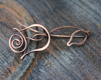 """Shawl pin, scarf pin, copper shawl pin """"Rose, Queen of flowers"""" from """"Blooming"""" collection, copper brooch, floral, woodland"""