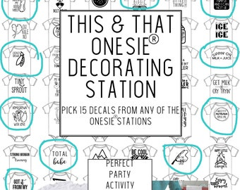 DIY Decorating Station / 15 Iron On Vinyl Decals / This + That Onesie® Station / Baby Shower Activity / Pick Your Own / Custom Colors
