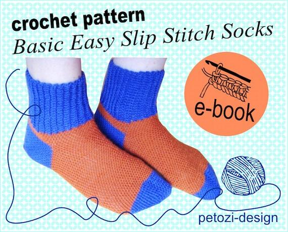 Crochet Pattern Basic Socks In Slip Stitch Crochet Besss Etsy