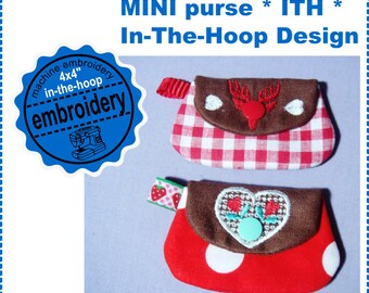 MINI purse - 4x4 hoop - machine embroidery design - In the hoop - ITH
