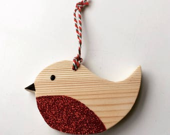 Robin Red breast Christmas tree decoration hanging ornament wooden handmade