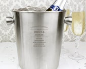 Personalized Ice bucket Larger size champagne bottle cooler wine cooler wedding or anniversary silver wedding anniversary gift engraved