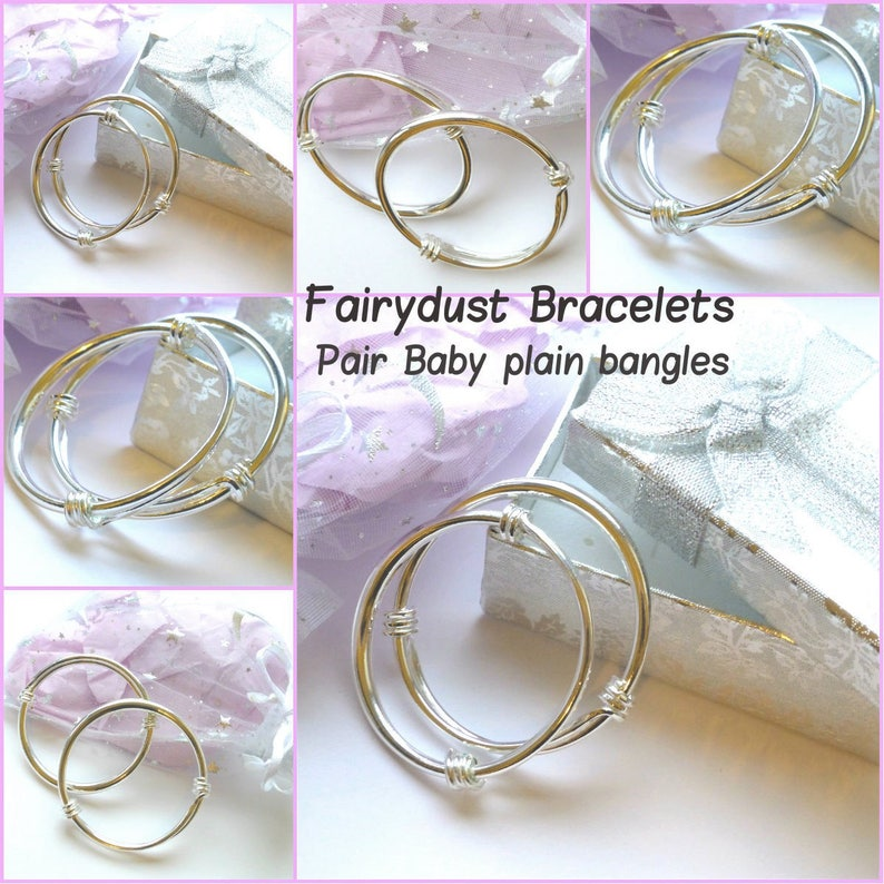Baby silver bangles choose bell pendant charm brangle or plain Babies christening baptism birthday christmas gift ideas in Free Gift pouch