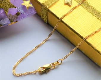 gold filled chain necklace suitable for women men girls or boys sparkley wave design unisex for pendant or wear alone