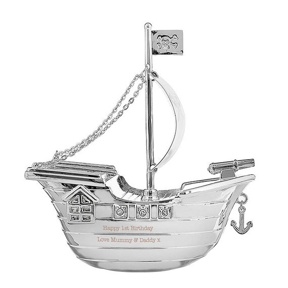 PERSONALISED Christening Gift BOYS Silver Plated Pirate Ship Money Box Baptism