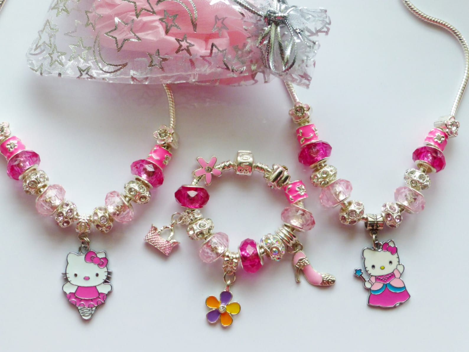 cat charm bracelet & necklace set choose ballet dancer or princess pendant in gift pouch little girls