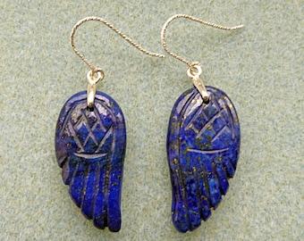 Angel Wings Lapis Lazuli Earrings with Sterling Silver