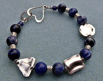 Sodalite and Fine Silver Chunky Beaded Bracelet with Sterling Silver Heart Clasp