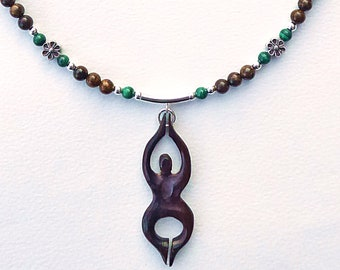 Bronzite and Malachite Goddess Necklace, Wooden Goddess, Gaia, Sterling Silver