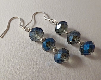 Crystal Drop Earrings, Sterling Silver. Czech AB Crystals in Blue and Silver