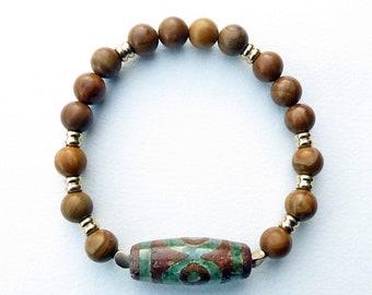Stretchy Dzi Bead, Wood Jasper and Brass Bracelet