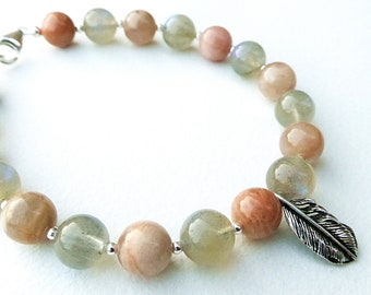 Labradorite and Sunstone Feather Charm Bracelet with Sterling Silver Clasp