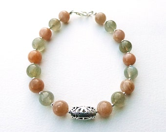 Labradorite and Sunstone Bracelet with Filigree Silver Fidget / Worry Bead and Sterling Silver Clasp