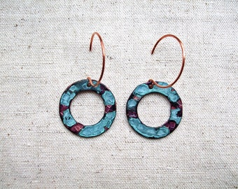 Pure Copper Circle Hoop Earrings with Hand Painted Patina, Dangle, Drop Earrings Copper and Blue