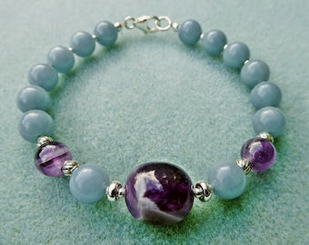 Chevron Amethyst and Angelite Bracelet with Sterling Silver