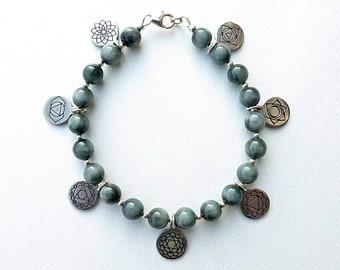Hawk's Eye Chakra Bracelet, Chakra Charm Bracelet, Seven Chakra Bracelet with Sterling Silver