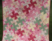 Twin quilt Bedding for girl Pink green white Handmade Twister pattern