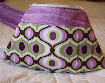 Pleated Wristlet Clutch - Michael Miller Feeling Groovy Orchid - Gift for Her