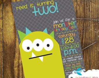 CUSTOM Monsters Birthday Party Invitations-- CUTE -- totally customizable  -- boys -- girls-- baby
