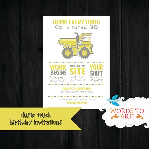 custom little boy dump truck birthday party invitations