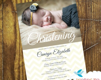 CUSTOM Chevron Baby Christening Invitations- Boy or Girl-- Pick Your Colors