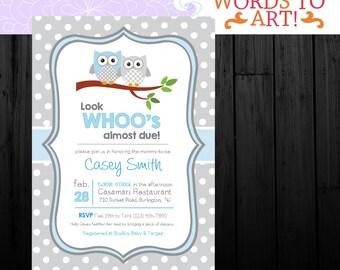 Custom Owl Themed Baby Shower Invitations