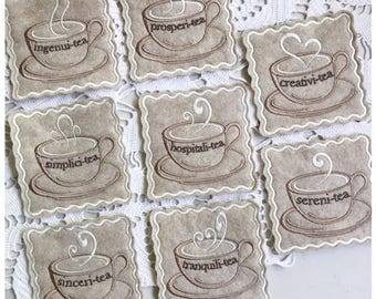 Inspirational Teacup Coasters - Machine Embroidery Design Set of 8 - Machine Embroidery Instant Download Design
