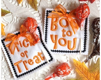 Halloween Lollipop Holder Set of 2 Embroidery Designs - Machine Embroidery Instant Download Design