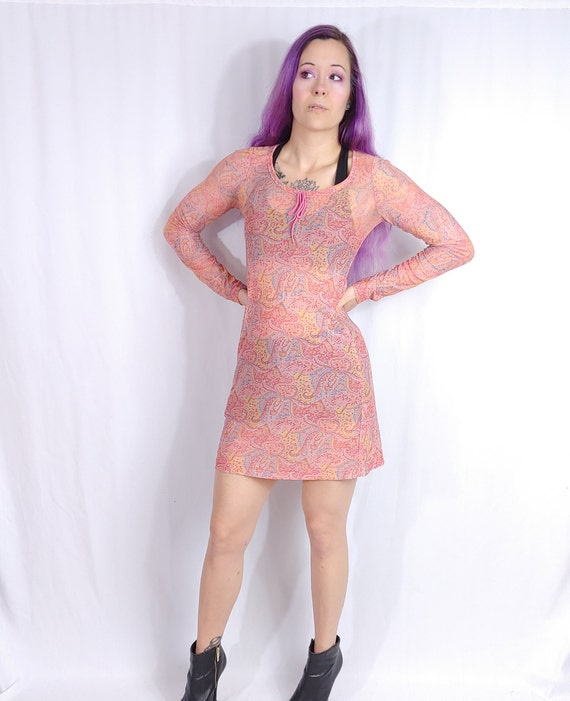 Vtg 90s Betsey Johnson Pink Sheer Paisley Sheath S