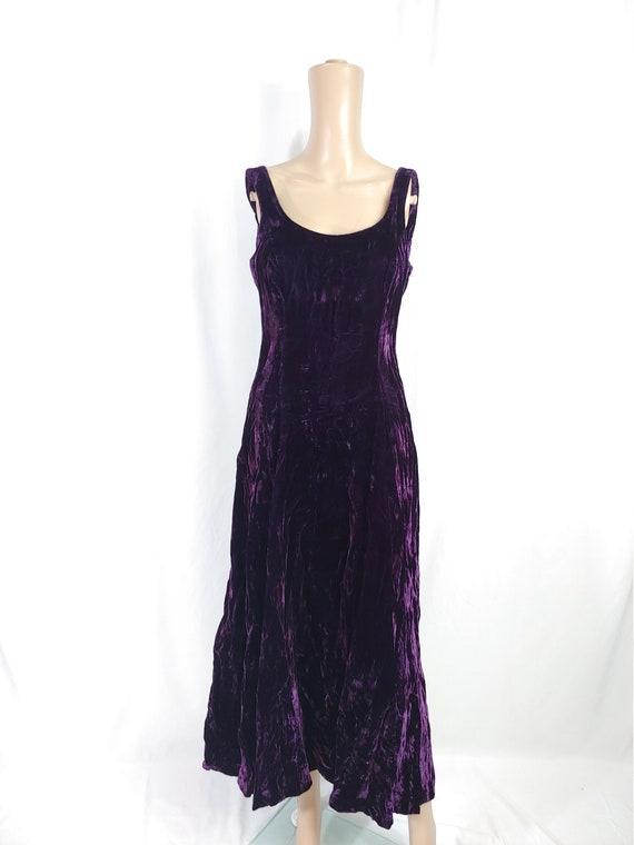 vintage 1990s Betsey Johnson Luxe blue velvet maxi dress