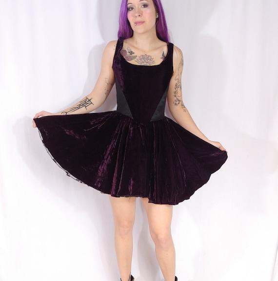 Vtg 90s Betsey Johnson Purple Black Crushed Velvet