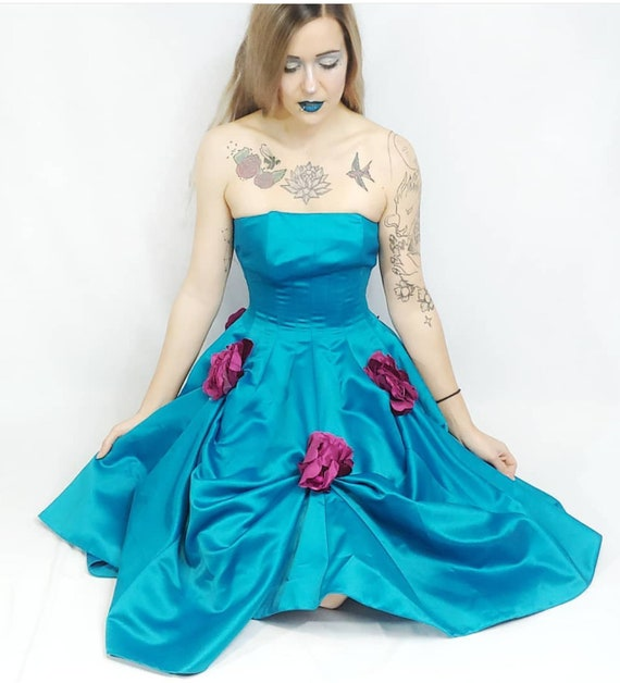 Vtg NWT Betsey Johnson Turquoise Blue Purple Flora