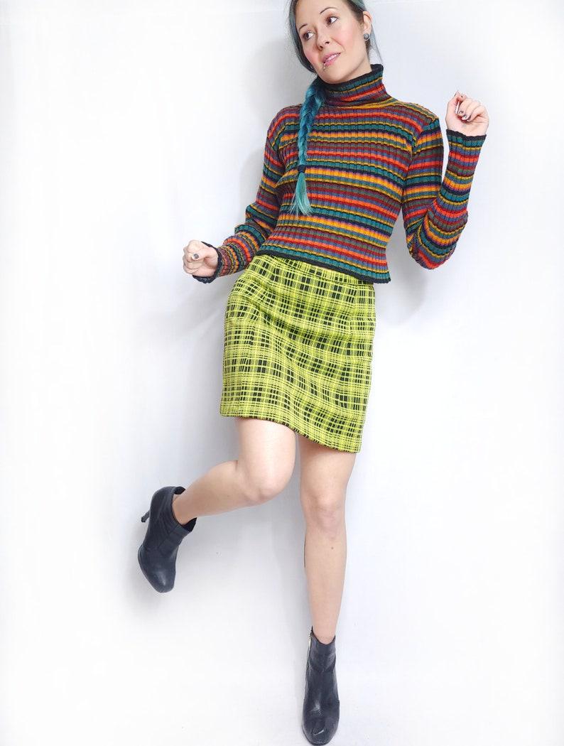 Vtg 90s Betsey Johnson Ribbed Striped Turtleneck Grunge Pullover Sweater SM