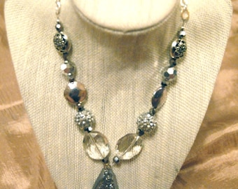 Handmade Silver Druzy and Crystal Mix Necklace
